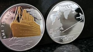 RMS-TITANIC-BOAT-SHIP-GOLD-AND-SILVER-PLATED-COMMEMORATIVE-COIN-ROUTE