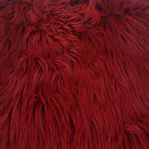 "FAUX FUR FABRIC 2/"" LONG PILE WINE RED MAROON BURGUNDY CRANBERRY GARNET FASHION"