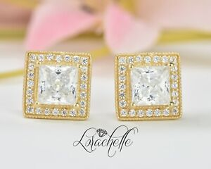 2-5ct-Princess-Cut-Halo-Stud-Solitaire-Earrings-Solid-14k-Yellow-Gold-Screw-Back