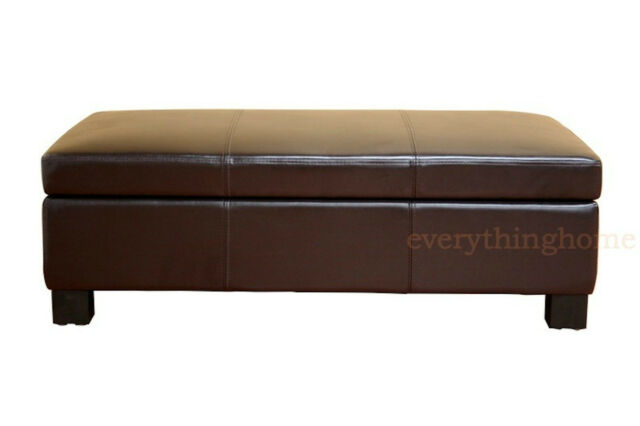 Marvelous Dark Brown Large Leather Storage Ottoman Rectangle Coffee Table Bench Onthecornerstone Fun Painted Chair Ideas Images Onthecornerstoneorg