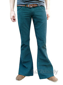 FLARES-GREEN-Mens-Bell-Bottoms-Corduroy-hippy-hippie-vtg-indie-Trousers-60s-70s