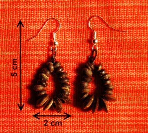 """Bijoux Ethniques Boucles d/'oreilles en noix de coco /""""Louk/"""""""