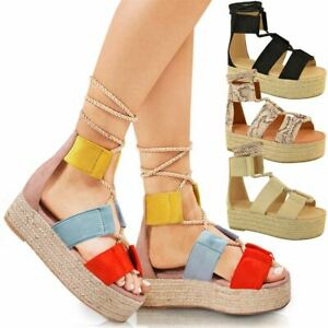 f06688e1ffbb Womens Wedge Flatform Sandals Rope Ankle Lace Tie Up Platform Summer ...