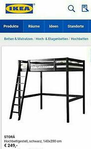 hochbett schwarz stora ikea 140 x 200 sehr praktisch und gut erhalten ebay. Black Bedroom Furniture Sets. Home Design Ideas