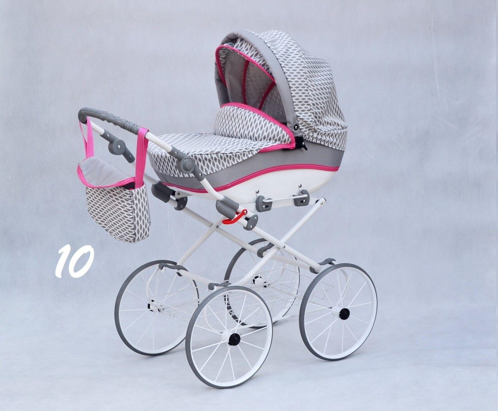 (Nr.0jul10)  Retro Puppenwagen mit verstellbarer Griffhöhe Neu