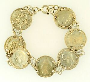 Plata-esterlina-6-5-034-tres-peniques-Moneda-Pulsera-de-enlace-16-mm-de-ancho