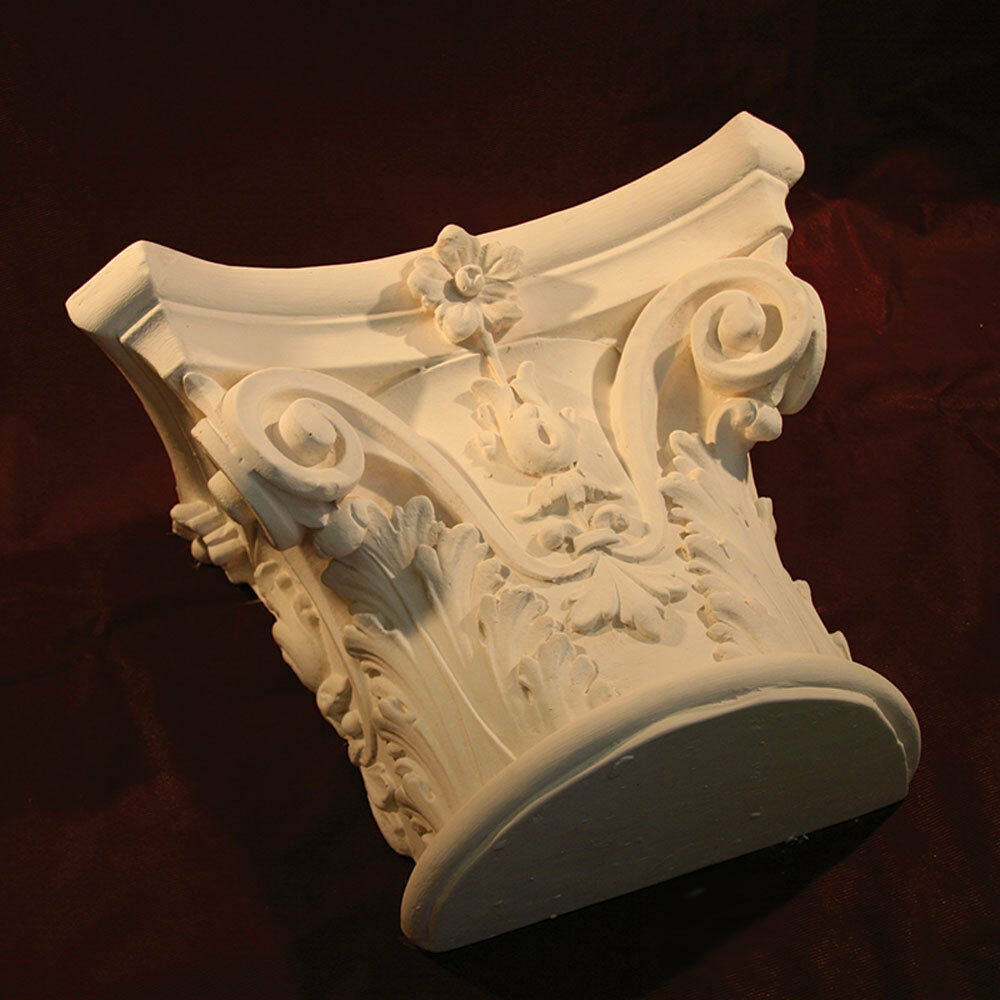 Corbel Single- Traditional Plaster. Column Corbel with large Acanthus leaf