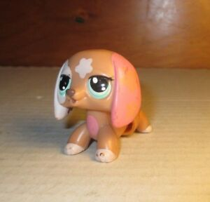Working-Littlest-Pet-Shop-Walkables-Brown-Dachshund-Dog-2163-Green-Dot-Eyes-LPS
