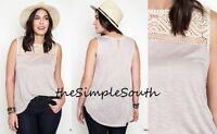 Kori America Taupe Lace Yoke Soft Knit Scoop Bottom Tank Layering Top 1xl