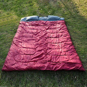 2-Person-Double-Wide-Sleeping-Bag-Camping-w-2-Pillows-Outdoor
