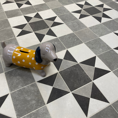 grey victorian style tile effect sheet vinyl flooring