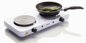 Portable électrique 2 Kw Double Plaque De Cuisson Chaud 15 Cm Plaque Easy Clean Cuisinière Sabichi White-afficher Le Titre D'origine