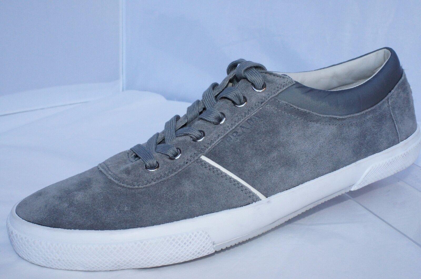 93418b60 PRADA Men's Shoes Tennis Size 10 Scamosciato 6 Gray SNEAKERS Suede