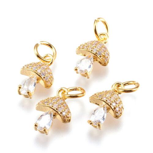 20pcs Brass Paved Cubic Zirconia Mushroom Charms Cute Gold Plated Pendants 11mm