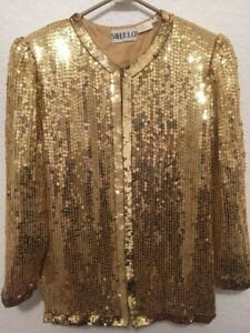 Holiday Outfit Evening Wear NYE/'s look Sequin /& Beaded Jacket Blazer Holiday Gift Attire Vintage 80s Silk Stage Wardrobe Party Wear