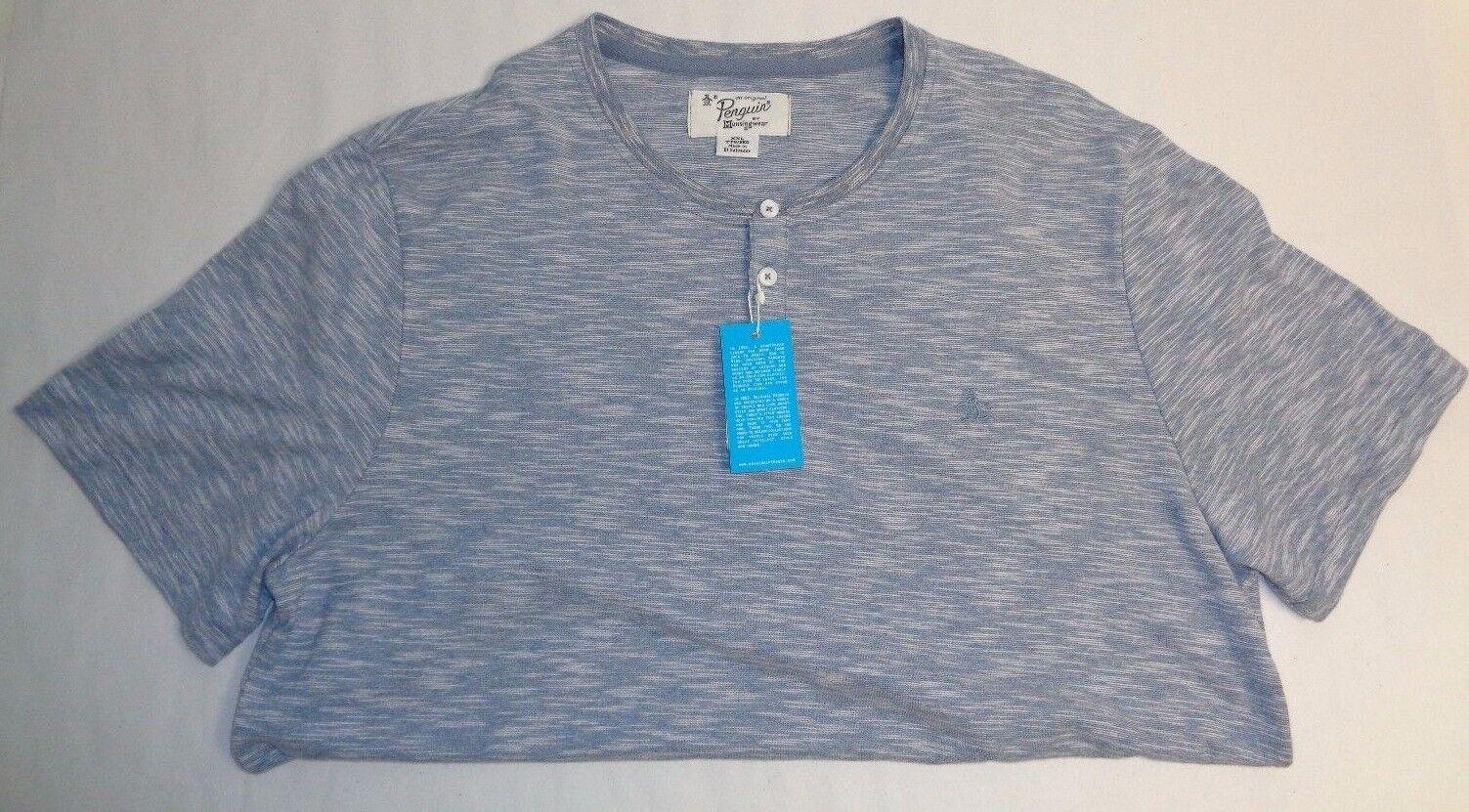 Original Penguin Size XXL SPACE DYE Flint Stone Henley Button Shirt New Mens