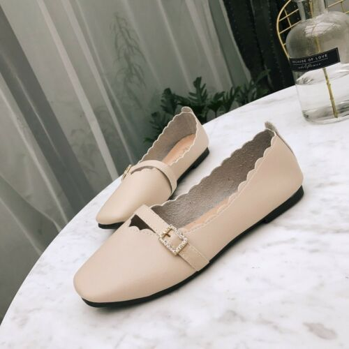 Womens Ladies Strap Ballerina Dolly Court Pumps Slip On Loafer Summer Shoes Size