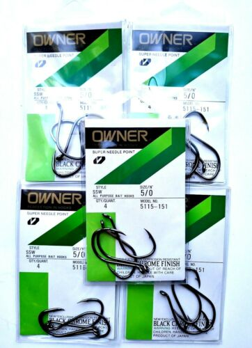 5 Packages Owner Super Needle Point All Purpose Hooks Size 5//0      Item Q 59