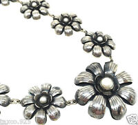 TAXCO MEXICAN 925 STERLING SILVER PEARL FLORAL FLOWER NECKLACE MEXICO