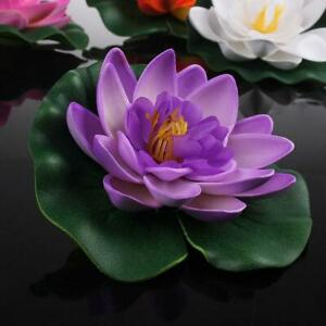 5 Pcs Artificial Fake Lotus Flowers Water Lily Floating Plants Pool