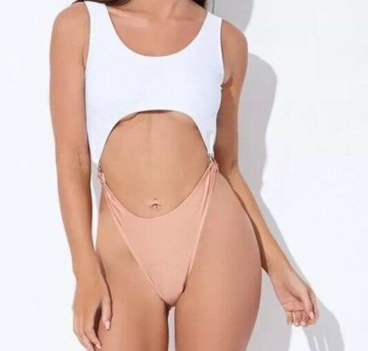 SARAH ASHCROFT WHITE AND PEACH CUT OUT HIGH LEG SWIMSUIT Size10 RRP.99 BoxE89