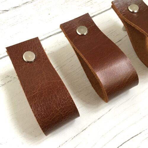 Leather Minimalist Drawer Pull Door Handles Dresser Cabinet Cupboard Loop Tan