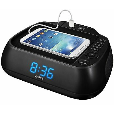 Duronic ACR02 Radio-réveil à rétroéclairage bleu - 2 ports USB