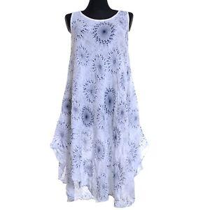 size 40 9fe66 8f1b0 Details zu Sommer Kleid Tunika Strand Strandkleid Weiß Blau 42 44 46 48 50  52 M L XL Lang