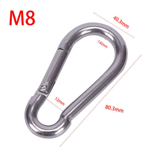 304 Stainless Steel Spring Carabiner Snap Hook Keychain Quick Link Lock BuckJKU