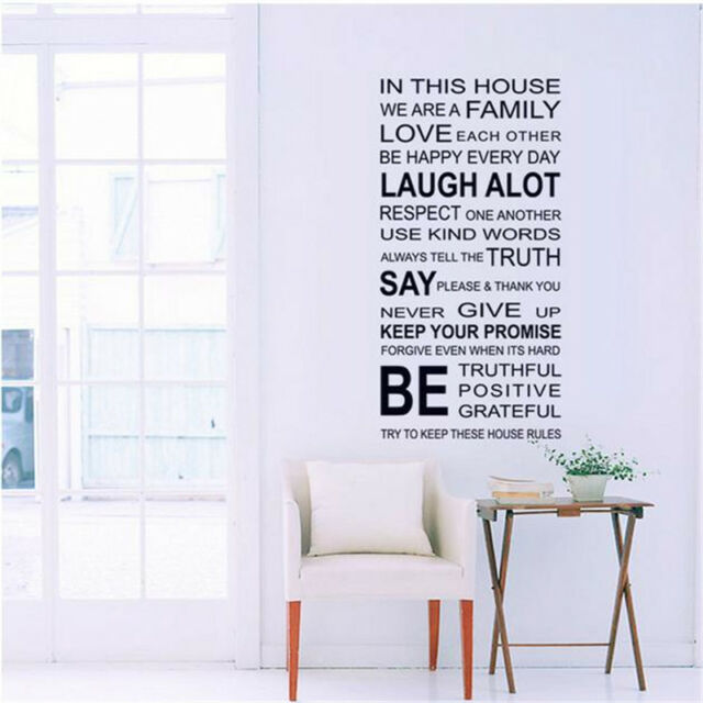 DIY House Family Home Rules Quote Wall Stickers Art Dining Room Removable Decals