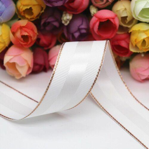 Glitter Rose Gold Edge Grosgrain Satin Ribbons Gift Packaging Diy Handmade