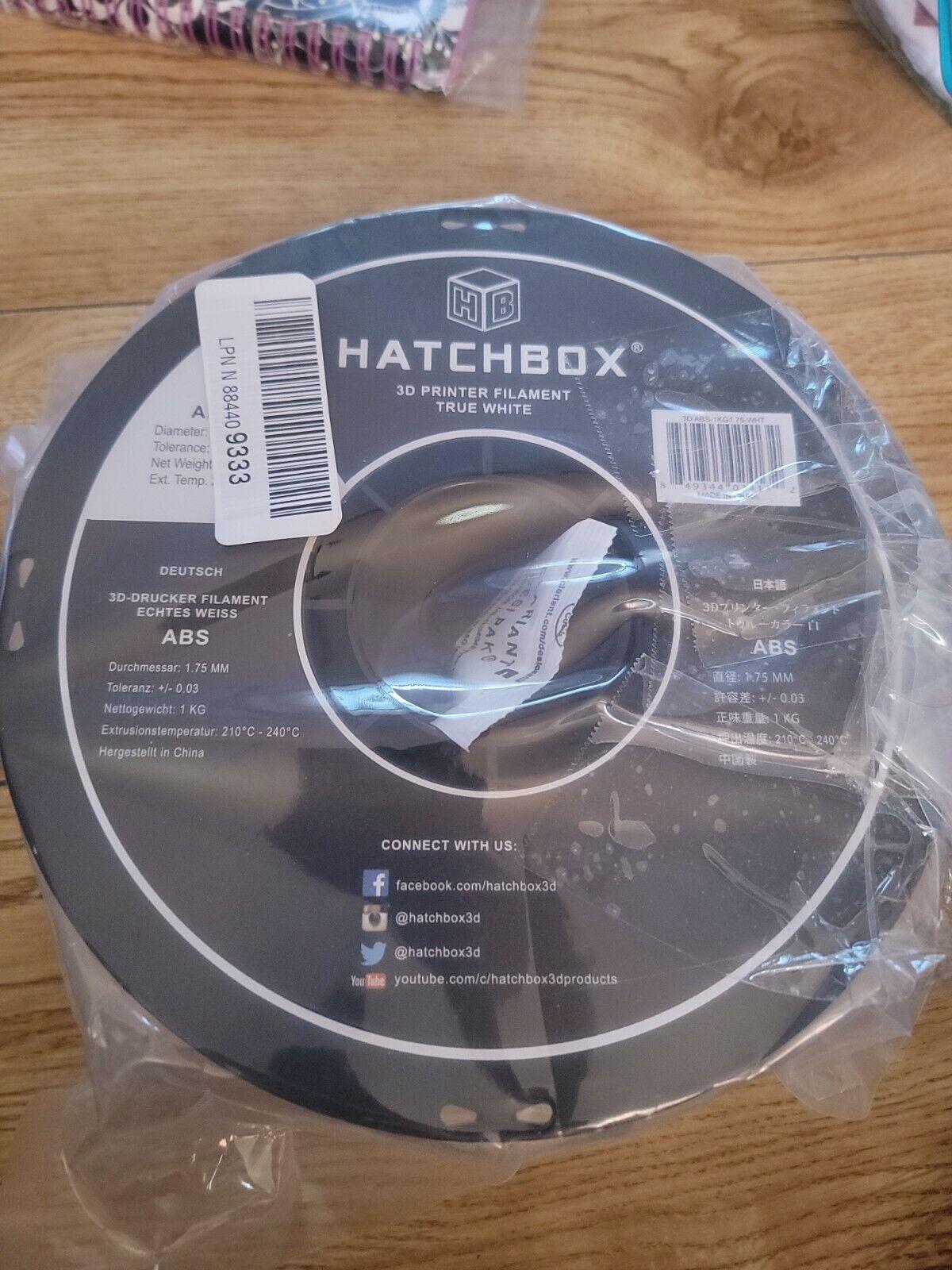 HATCHBOX ABS 1.75 mm 3D Printer Filament in White, 1kg Spool