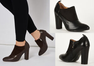 S18 - Ladies Faux Suede & Faux Leather Block Heel Ankle Boot - UK 3