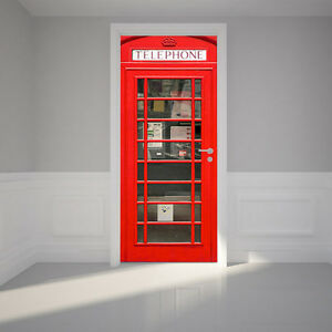 3D telephone booth Door Wall Mural Photo Wall Sticker Decal Wall AJ WALLPAPER US