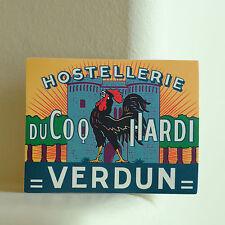 "#2760 Hostellerie DuCoq Hardi Verdun France ROOSTER Label 2.5x3.5"" Decal Sticker"