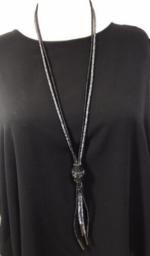 Cristales facetados Malla Negra Borla Collar trémulo Largo Suave Táctil Glam Nuevo