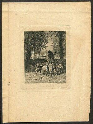 c1870 Original Etching Antique Barbizon Print after C. Troyon by La Guillermie