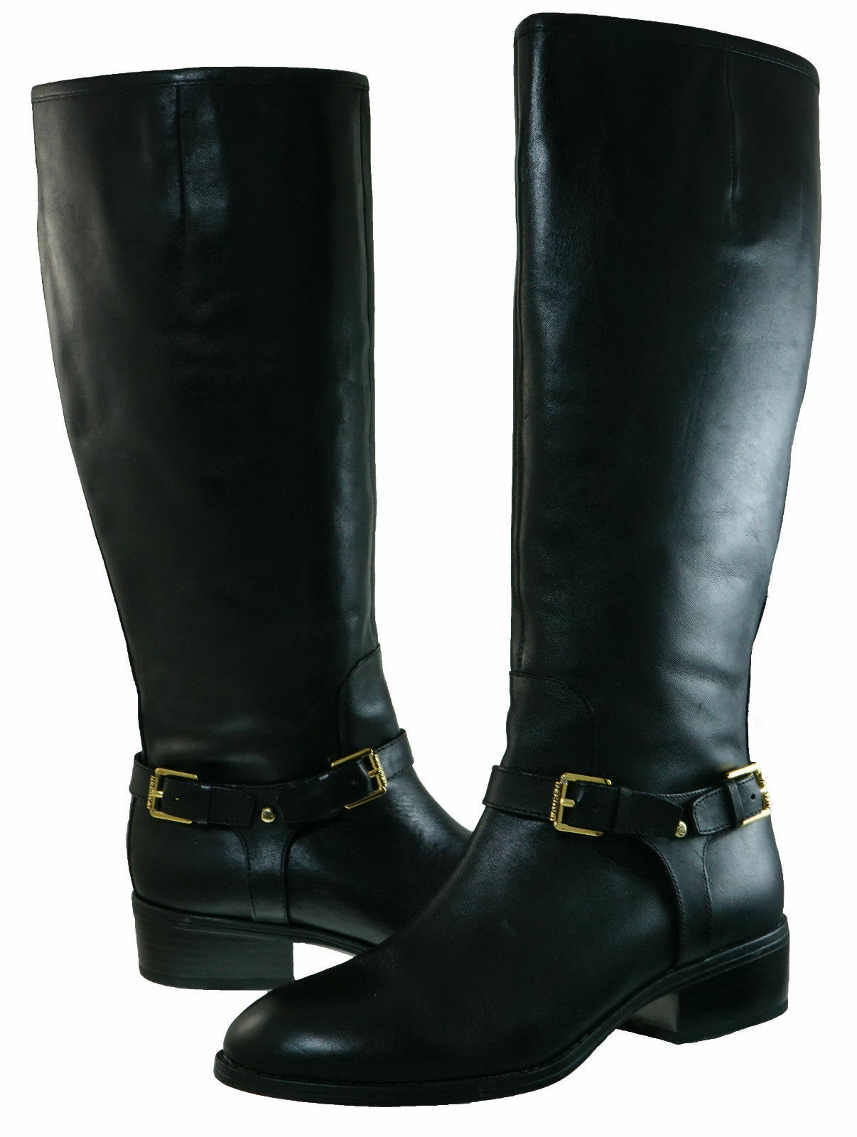 Ralph Lauren Womens Marion Wide Calf Strap Buckle Zipper Pull On Knee High Boots