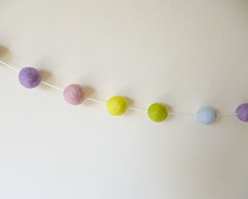 Pastel Felt Ball Garland Gumball Party Decor Nursery Bunting Pom Pom Garland