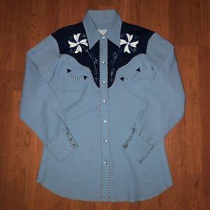 "✰ Vintage 60s 70s H Bar C California Ranchwear ""TAHOE"" Herren Western Shirt 15"