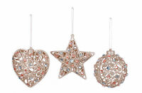 3 x Jewelled Vintage style Christmas tree Baubles Decorations ball star heart