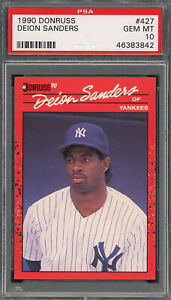 Deion Sanders Yankees 1990 Donruss Baseball Rookie Card #427 PSA 10 GEM MINT