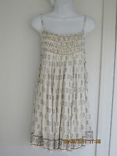 NEW  FREE PEOPLE   M   ONE  IVORY GOLD TRIBAL PRINT SIDE LACE UP  MINI  DRESS