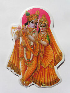 Window Hindu Sticker * RADHA KRISHNA * 12.7cm x 9cm (D-1633) Double Sided |  eBay