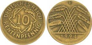 10 Pfennig 1924 e, Fehlprägung: 15% dezentriert, ohne Riffelrand ss, Fehlp 63789