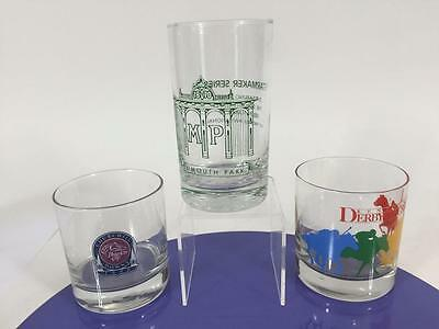 Horse Racing Vtg Glass Set 3 Kentucky Derby Churchill Downs 1998 Monmouth Race