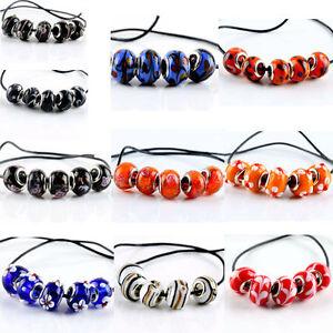 5Pcs-SILVER-MURANO-GLASS-BEAD-Fit-European-Charm-Bracelet-Jewelry-Making