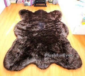 Luxury Shaggy Faux Fur Rug Bearskin Grizzly Bear Black