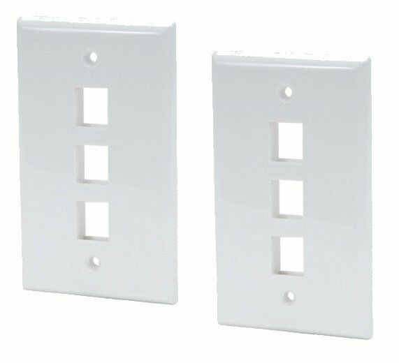 2 Pack x 3 Port Hole Keystone Insert Jack CAT RJ45 HDMI Audio Wall Plate WHITE