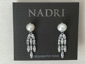 Nadri-Rhodium-Plated-Freshwater-Pearl-CZ-Drop-Earrings-NWT-110